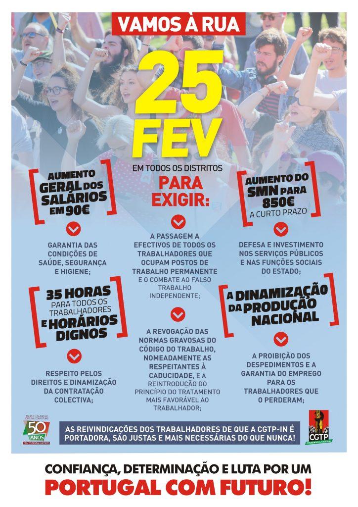 Cartaz de jornada de luta de 25 Fevereiro de 2021